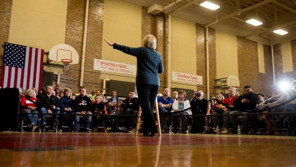 Hillary Clinton speaks at a rally at BR Miller Middle