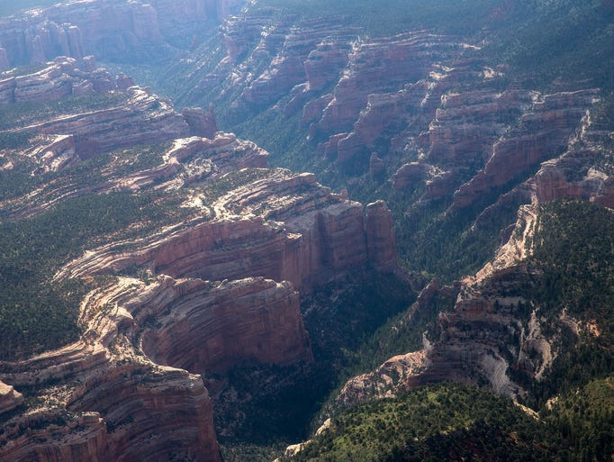A portion of Arch Canyon as seen during a media helicopter