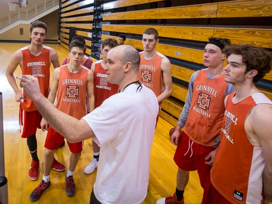 Head coach Dave Arseneault, Jr., runs practice for the Grinnell menÕs basketball program Tuesday, Jan. 9, 2018, in Grinnell, Iowa.