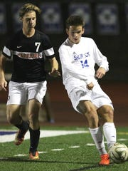 CC's Noah Walter (right) keeps the ball in front of