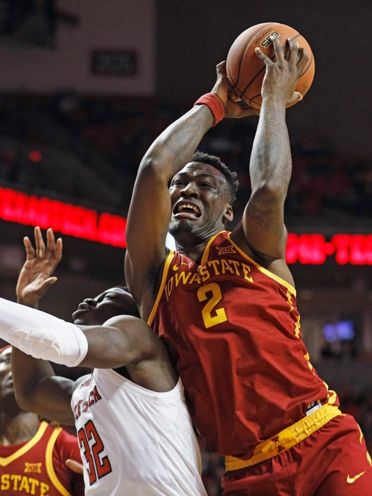 Iowa State's Cameron Lard (2) rebounds the ball over Texas Tech's Norense Odiase (32) during the second half of an NCAA college basketball game Wednesday, Feb. 7, 2018, in Lubbock, Texas. (AP Photo/Brad Tollefson)