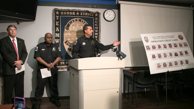 Lt. Jay Rodriguez talks about a 14-month investigation that led to 21 arrests of suspected gang members during a news conference on Thursday, January 19, 2017.