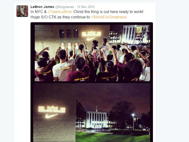 Cleveland guard LeBron James tweeted a photo his his Nike King James logo on the side of Christ the King Regional High School in Middle Village, Queens, New York.