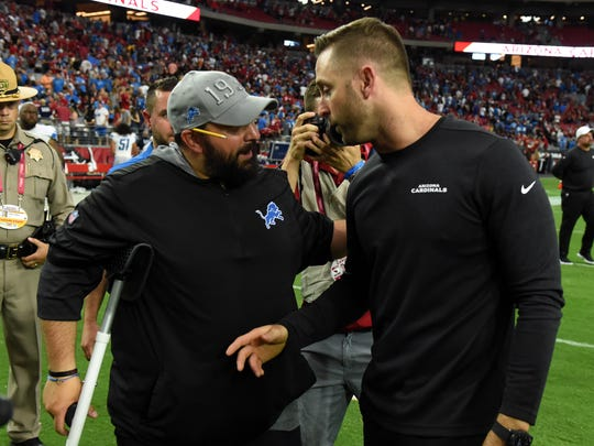 GLENDALE, ARIZONA - SEPTEMBER 08: Head coach Kliff Kingsbury of the Arizona Cardinals talks with head coach Matt Patricia of the Detroit Lions after a 27-27 tie at State Farm Stadium on September 08, 2019 in Glendale, Arizona. (Photo by Norm Hall/Getty Images)