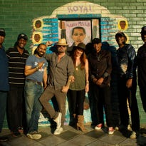 Producer Dave Stewart and singer Vanessa Amorosi (center), with the crew at Royal Studios.