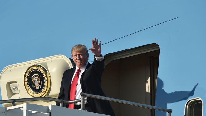 President Trump on Air Force One on Feb. 3, 2017.