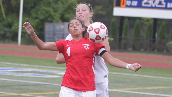 Action during a Section 1 girls soccer game between