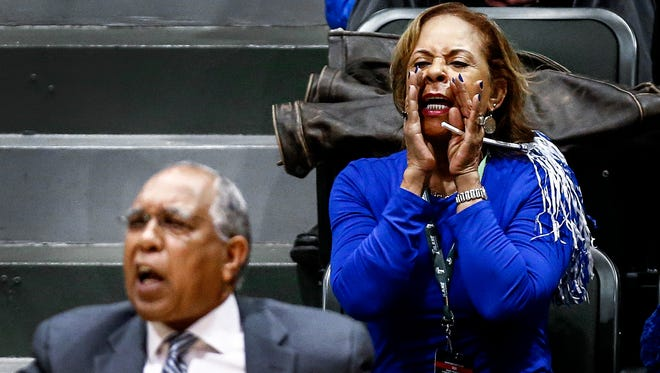 Donna Smith, the wife of Memphis coach Tubby Smith, can often be heard yelling words of encouragement as well as critiques of the refs during games. She usually sits right behind the bench when her husband is coaching.