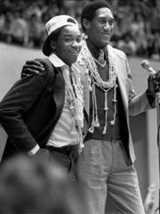 IU players Isiah Thomas (left) and Ray Tolbert bask in glory at Assembly Hall on March 31, 1981 after winning the NCAA championship.