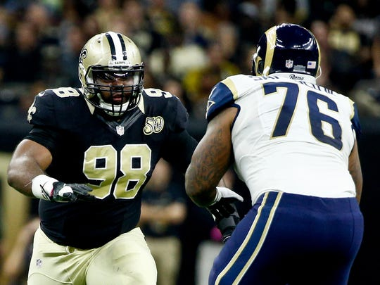 New Orleans Saints defensive tackle Sheldon Rankins (98) rushes against Los Angeles Rams guard Rodger Saffold (76) during the second half of a game at the Mercedes-Benz Superdome.