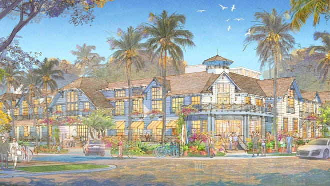 A building rendering shows a proposed two-story hotel along Broad Avenue South and Gordon Drive in downtown Naples.
