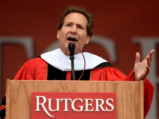 The 252nd commencement of Rutgers University was held at High Point Solutions Stadium in Piscataway on Sunday, May 13, 2018. Dan Schulman, president and CEO of PayPal, delivers the commencement address.
