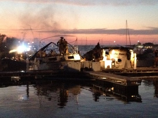 Firefighters were able to bring a blaze that damaged three boats under control fairly quickly Monday at Quarterdeck Marina in Sturgeon Bay.