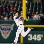Tigers shortstop Jose Iglesias throws out Brett Gardner during Detroit's win Monday night.
