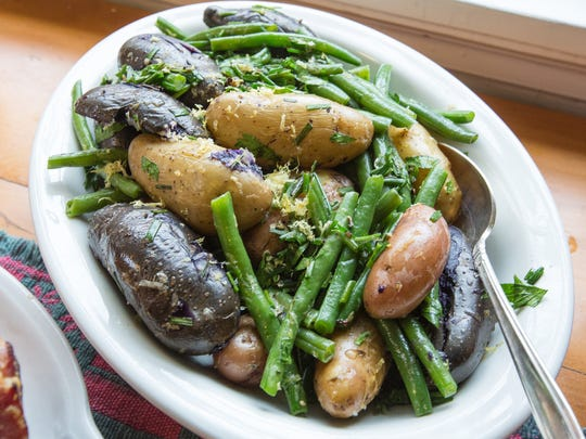 Green Bean and Fingerling Potato Salad, is a great side dish for ham with biscuits.