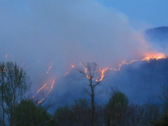 A forest fire started in Rockbridge County has crossed into Augusta County, a fire official said Friday morning. This photograph was taken from Vesuvius.