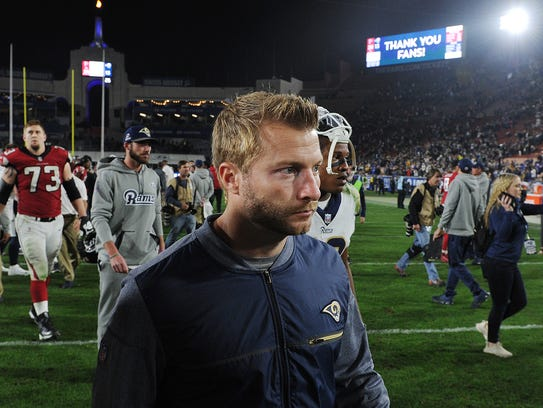 Rams coach Sean McVay leaves the field after his team's