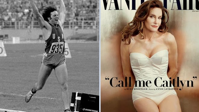 Jenner (on left) in July 30, 1976 file photo, and (on right)  on the July 2015 cover of Vanity Fair.