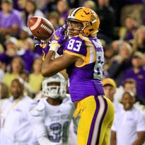 LSU Tigers wide receiver Travin Dural (83) drops a pass against the Eastern Michigan Eagles during the second quarter of a game at Tiger Stadium.