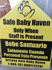 Any Mesa Fire & Medical Department vehicles with these Arizona Safe Baby Haven Foundation stickers are safe havens where moms in distress can turn over a newborn.