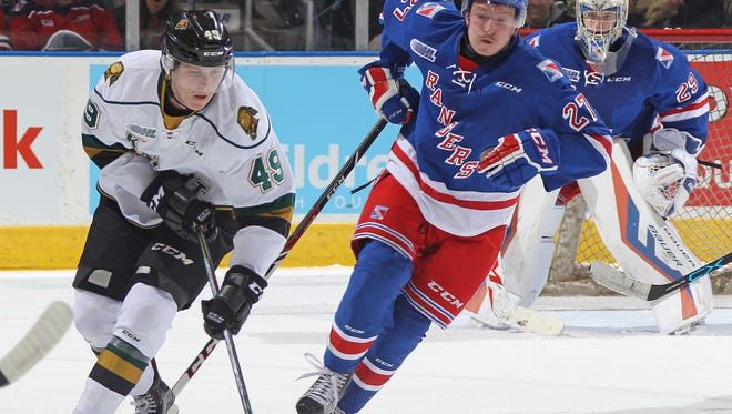 Max Jones, left, of the London Knights plays against the Kitchener Rangers on Friday, Nov. 20, 2015, in London, Ontario.