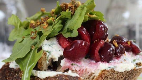 Cherry bruschetta at Wolfert's Roost in Irvington