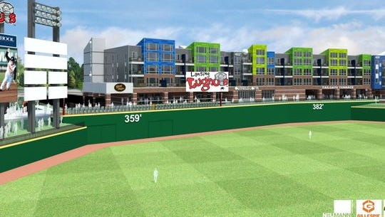 Updated artist's renderings show the Outfield, an 84-unit apartment building in the outfield of Cooley Law School Stadium in downtown Lansing. Developer Pat Gillespie intends to complete the building by opening day of the Lansing Lugnuts' season in 2016.