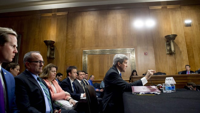 Secretary of State John Kerry testifies during a Senate Foreign Relations Committee hearing on Feb. 23, 2016.