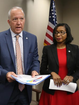 Tamiyka Rose, right, appears with Akron Mayor Dan Horrigan in April after the announcement of the city's Youth Violence Prevention Strategic Plan.