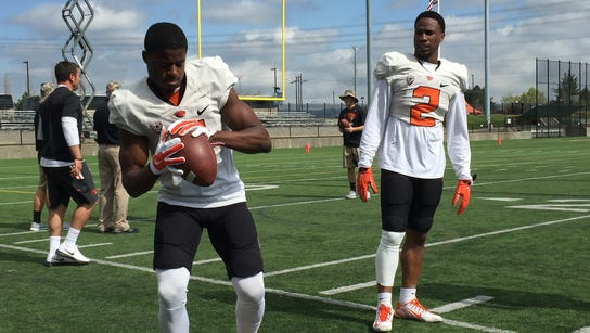 Wide receivers Victor Bolden (left) and Hunter Jarmon
