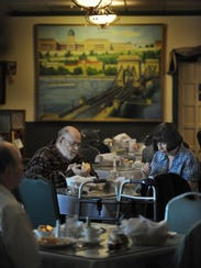 Longtime customers George and Nancy Steffin enjoy lunch