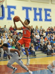 Galion's Zhamir Anderson soars to the basket.