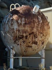 An old hydrogen sphere is shown at the Santa Susana Field Laboratory in unincorporated hills southeast of Simi Valley.