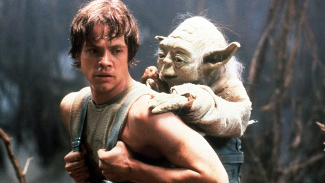 """Luke Skywalker, played by Mark Hamill, furthers his Jedi training with Yoda in """"The Empire Strikes Back."""""""