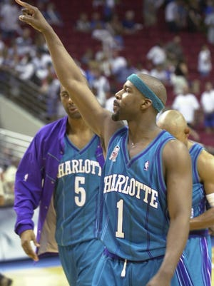 Baron Davis shown with the Charlotte Hornets in 2002.