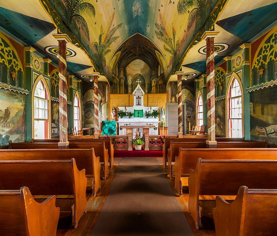 Saint Benedict's Roman Catholic Church, or The Painted Church as it is commonly known, was built between 1899-1902 under the direction of the Belgian Catholic missionary Father John Velghe, who then painted frescoes along the interior ceiling and wal