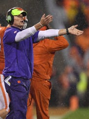 Clemson defensive coordinator Brent Venables coaches against Georgia Tech during the 1st quarter on Saturday, Oct. 28, 2017 at Clemson's Memorial Stadium.
