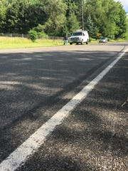 Tire tread marks are visible on northbound North Westnedge Avenue north of Kalamazoo where five bicyclists were killed and four were injured Tuesday June 7, 2016. Photo taken Wednesday, June 8, 2016.