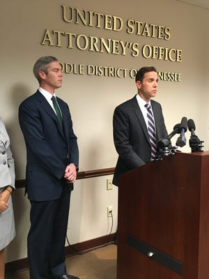 The U.S. Attorney's Office, Middle District of Tennessee, discusses the charges against Judge Casey Moreland on March 28, 2017. Moreland later resigned; however, city officials continue scrutinizing cases in his court.
