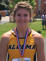 Algoma junior Elizabeth McClure won the Division 3 state title in the high jump on Friday.