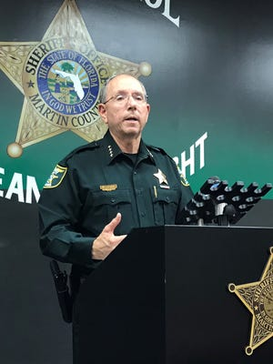 Martin County Sheriff William Snyder introduces his office's new Eye Watch program, which enlists owners of surveillance cameras to help gather evidence.