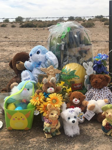 The memorial for 10-year-old Jesse Wilson at the site where his remains were found in Buckeye on March 31, 2018.
