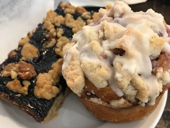 A berry bar and streusel muffin at Birch & Banyan,