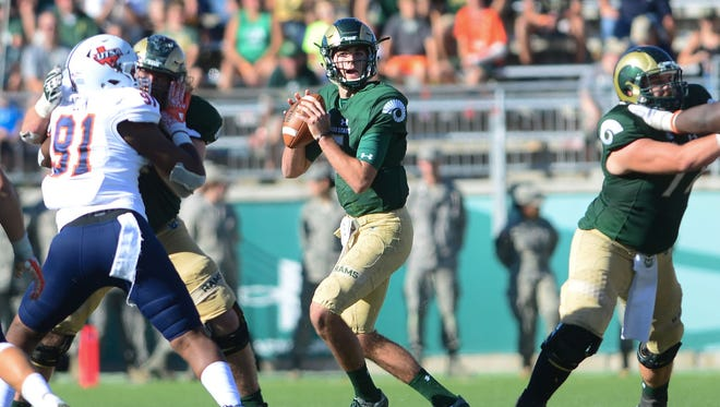 CSU quarterback Collin Hill looks for an open receiver during Saturday's win over Texas-San Antonio at Hughes Stadium.