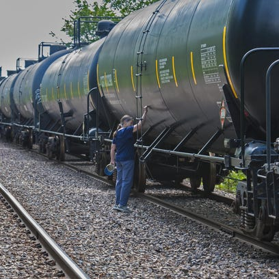 Railway cars are seen this summer stored on a side track in Charlotte. The Selectboard on Tuesday endorsed a letter from the town fire chief to Vermont Rail System officials raising concerns about the storage.