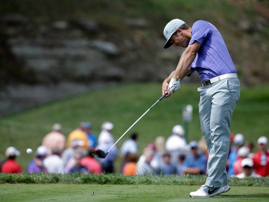 Kevin Chappell hits his tee shot on the 15th hole during the first round of the PGA Championship golf tournament at Valhalla Golf Club on Thursday, Aug. 7, 2014, in Louisville, Ky. (AP Photo/Jeff Roberson)