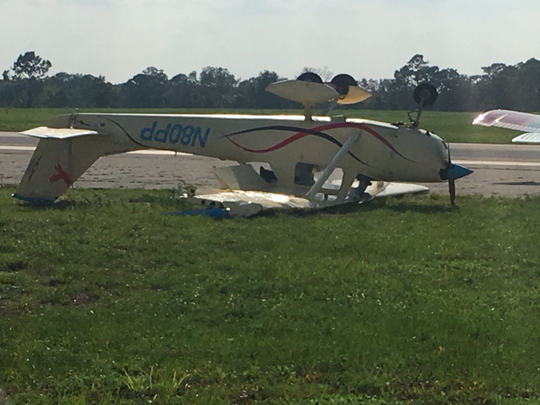 Several planes were flipped by strong wind gusts during a thunderstorm at Space Coast Regional Airport Monday.