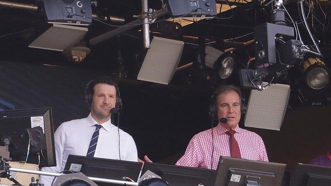 Tony Romo and Jim Nantz (AP Photo/Morry Gash)