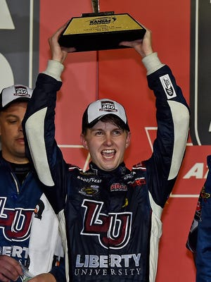 William Byron celebrates winning the Toyota Tundra 250, May 5 at Kansas Speedway.