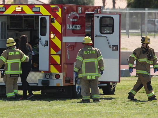 A student actor was taken by ambulance as Palm Desert High School was used for a DUI education video.